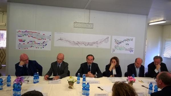 Il tavolo istituzionale (da sx Mucilli, Perosino, Nencini,  Marini, Rometti, Zurli)