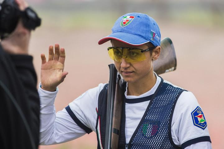 LIMA - SEPTEMBER 17: Silver medalist Simona SCOCCHETTI of Italy competes in the Skeet Women Finals at the Captain FAP Jose Quinones Shooting Range during Day 2 of the ISSF World Championship Shotgun on September 17, 2013 in Lima, Peru. (Photo by Marco Dalla Dea)