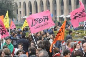 Giornata della memoria per le vittime della mafia, organizzata dall`asdociazione di Don Ciotti Libera, questa mattina 17 marzo 2012 a Genova. -ANSA/LUCA ZENNARO -