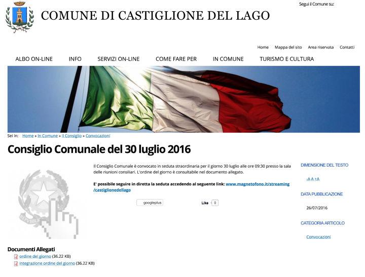 Consiglio Comunale del 30 luglio 2016 | Comune di Castiglione de