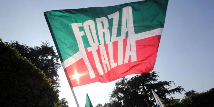 Una bandiera di Forza Italia sventola davanti villa San Martino, la residenza di Arcore di Silvio Berlusconi, 01 luglio 2013. MATTEO BAZZI / ANSA