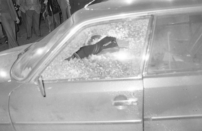 L'auto del giornalista Mino Pecorelli con il finestrino crivellato dai proiettili, Roma, 20 marzo 1979. Mino Pecorelli era il fondatore dell'agenzia di stampa e della rivista OP- Osservatore Politico. ANSA