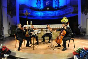 Un momento del Concerto dei Borodin Quartet nella chiesa di San Francesco, nell'ambito del Festival delle Nazioni, ieri sera a Città di castello ( Perugia). ANSA/ CROCCHIONI