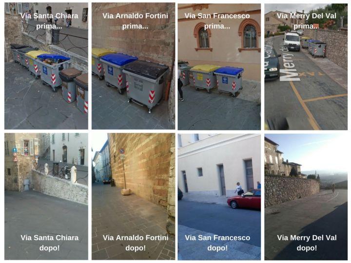Assisi differenziata prima e dopo