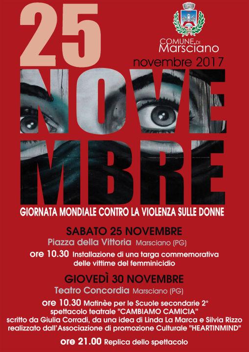 locandina 25 novembre stop violenza sulle donne umbria domani umbria domani