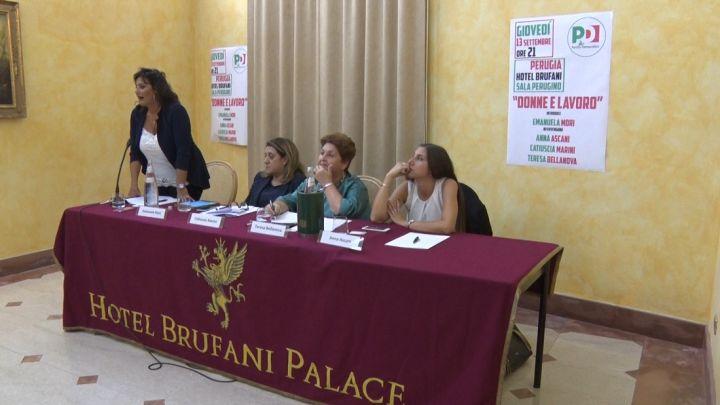 Da sinistra Emanuela Mori, Catiuscia Marini, Teresa Bellanova, Anna Ascani