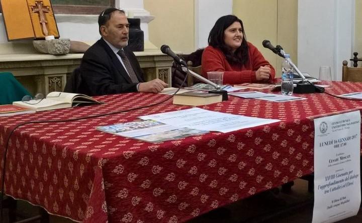 il rabbino moscati con la presidente caponera al centro ecumenico san martino alla XXVIII giornata del dialogo catt-ebr 2017-2