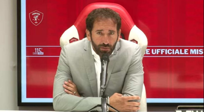 Perugia Calcio, presentazione del nuovo mister Fabio Caserta