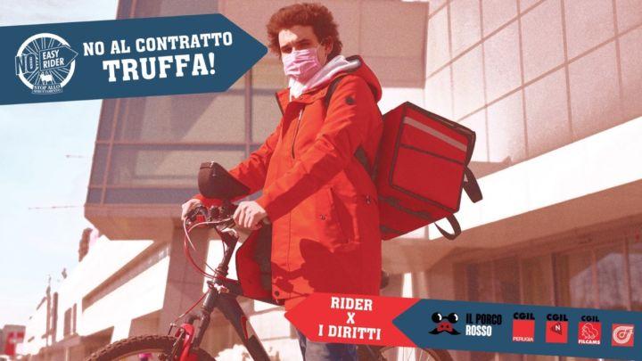 A Perugia la mobilitazione dei rider per dire no al contratto truffa